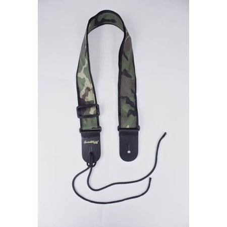 Green Leather Strap - Guitar Strap Camo Camouflage Cloth On Black Nylon Leather Ends Fits All Acoustic And Electric And Bass Hand Made In USA Since 1978
