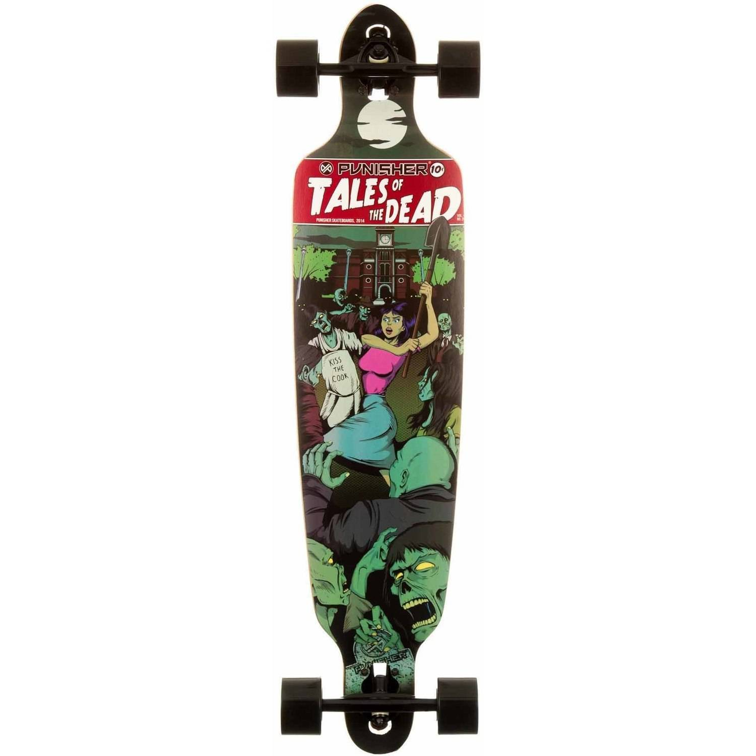 """Punisher Skateboards Tales of the Dead 40"""" Longboard, Double Kick with Drop Down Deck by Generic"""