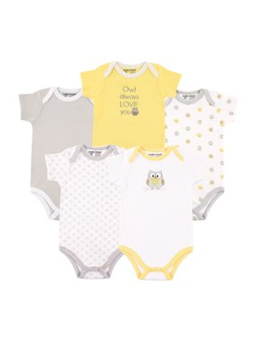 Luvable Friends Baby Boy or Girl Gender Neutral Short Sleeve Bodysuits, 5-Pack