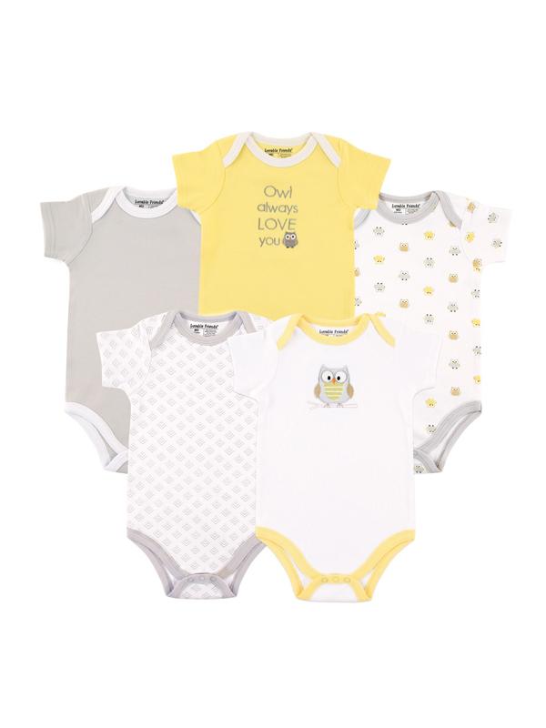 Baby Boys' or Girls' Unisex Short Sleeve Bodysuits, 5-pack