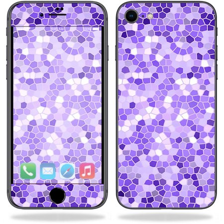 Skin for Apple iPhone 8 - Stained Glass| MightySkins Protective, Durable, and Unique Vinyl Decal wrap cover  | Easy To Apply, Remove, and Change Styles | Made in the (Stained Glass Apple)