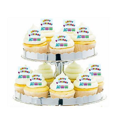 24pk Train Happy Birthday Edible Cupcake  Decoration Toppers / Picks (Happy Birthday Cupcake)