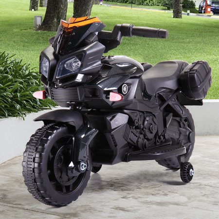 6V Kids Ride On Motorcycle Battery Powered Electric Toy With Training Wheels Black