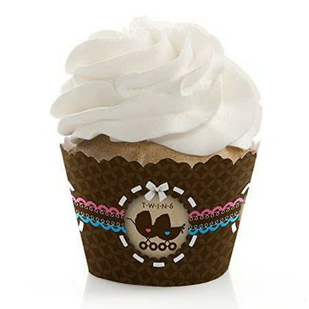 Twin Baby Carriages 1 Boy & 1 Girl - Baby Shower Cupcake Wrappers - Set of 12