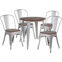 "Flash Furniture 26"" Round Silver Metal Table Set with Wood Top and 4 Stack Chairs"