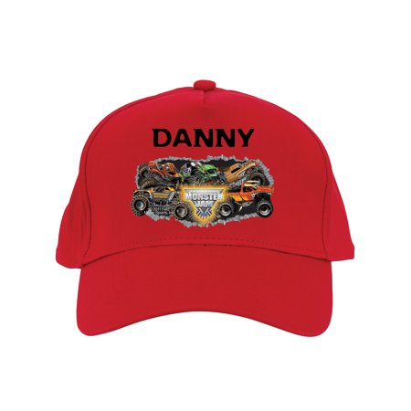 Personalized Monster Jam Madness Baseball Hat, Red (Mobster Hats)