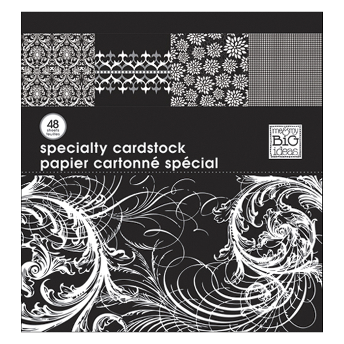 Mambi Specialty Cardstock Pad 12'X12' 48 SheetsBlack & White