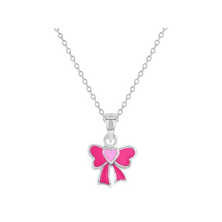 925 Sterling Silver Pink Enamel Bow Necklace Pendant for Toddlers or Girls