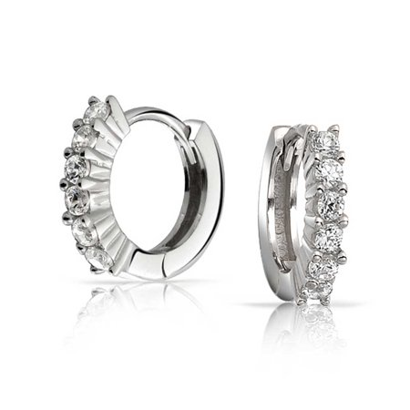 5 Solitaire Prong Set CZ Small Kpop Huggie Hoop Earrings For Women For Men Round Cubic Zirconia 925 Sterling Silver