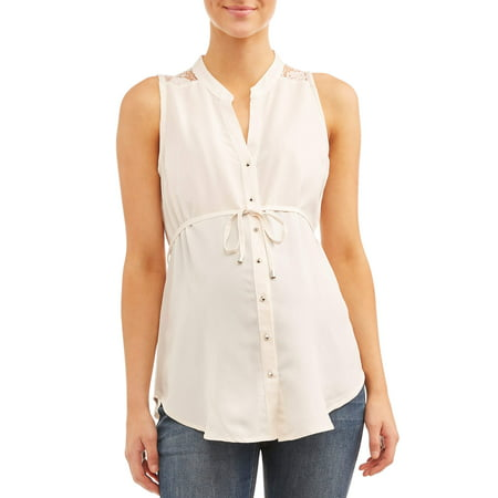 Oh! MammaMaternity sleeveless lace back button front top - available in plus