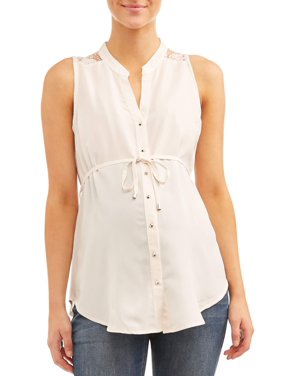 Oh! Mamma Maternity sleeveless lace back button front top - available in plus sizes