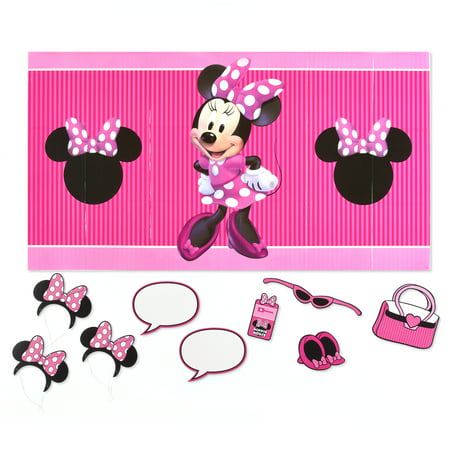 Minnie Mouse Party Backdrop And Props Photo Kit 10pc Walmart Com