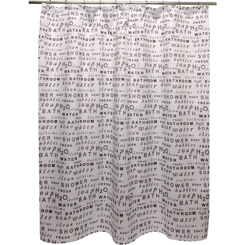 Famous Home H20 Shower Curtain, Black/White