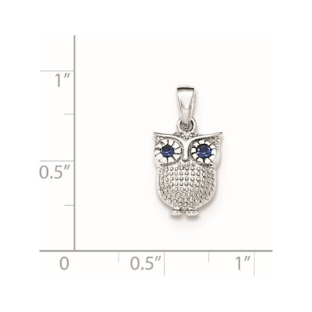 925 Sterling Silver Rhodium-plated w/Blue Synthetic Sapphire Owl Pendant / Charm - image 1 de 2