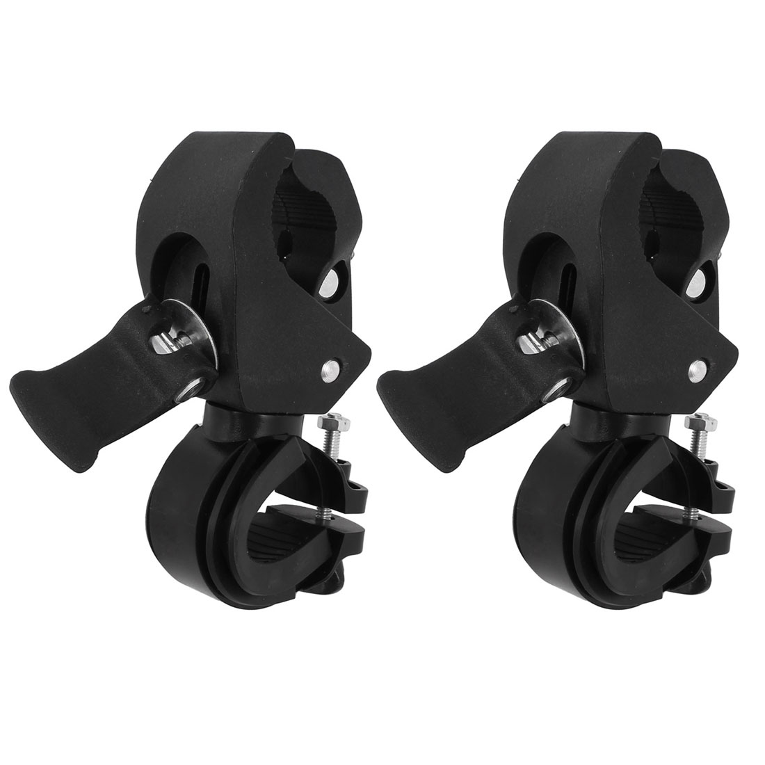 Plastic Outdoor Cycling Adjustable Flashlight Lamp Holder Clamp Clip Bracket Black 2 Pcs