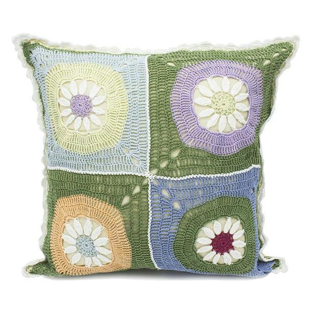 Fennco Styles Handmade Floral Design Crochet Lace Decorative Throw Pillow Cover 16 Square 100 Cotton Case Insert Style 3 Walmart Com Walmart Com