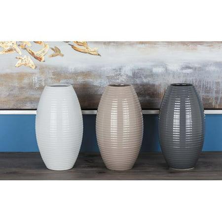 Oliver James Buri Neutral Ceramic Vase Set Of 3 Walmart