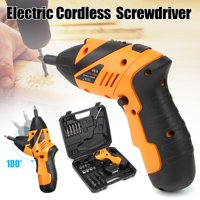 45PCS 4.8V Cordless Electric Drill Screwdriver P ower Tool Rechargeable Screw Gun Drill Kit For Iron Wood Steel with LED Light & Charger + Carry Case