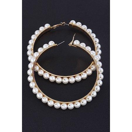 - Womens Lovely Pearl Beaded Elegant Fashion Hoop Earring YE26 -Cream(YE2661)