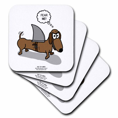 3dRose Weiner Dog with a Sharks Fin, Ceramic Tile Coasters, set of 4