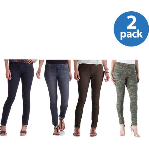 Faded Glory Women's Denim Jeggings, Available in Regular and Petite, 2 Pack Value Bundle