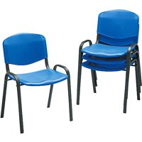 Set of 4, Safco Contour Stacking Chairs, w/Black Frame in Multiple Colors