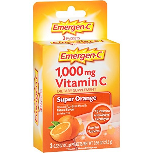 Emergen-C (3 Count, Super Orange Flavor) Dietary Supplement Fizzy Drink Mix With 1000mg Vitamin C, 0.32 Ounce Packets, Caffeine Free