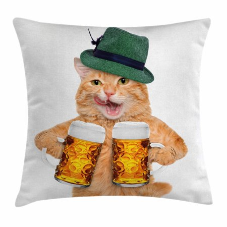Cat Throw Pillow Cushion Cover, Cool Cat with Hat and Beer Mugs Bavarian German Drink Festival Tradition Funny Humorous, Decorative Square Accent Pillow Case, 16 X 16 Inches, Multicolor, by