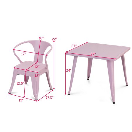 Gymax 3 Pcs Kids Dining Set Square Table & 2 Tolix Armchairs Play Learn Activity Home - image 4 de 10