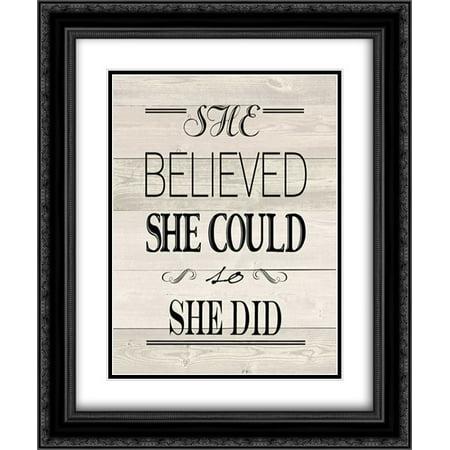 She Believed Wood Vintage 2x Matted 20x24 Black Ornate Framed Art Print by Moulton, Jo