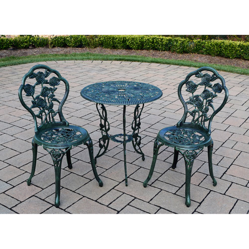 Rose 3 Piece Bistro Patio Set, Verdi Green