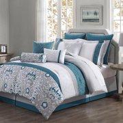 Chloe 10-piece Reversible Comforter Set Teal/ Gray/ Ivory King
