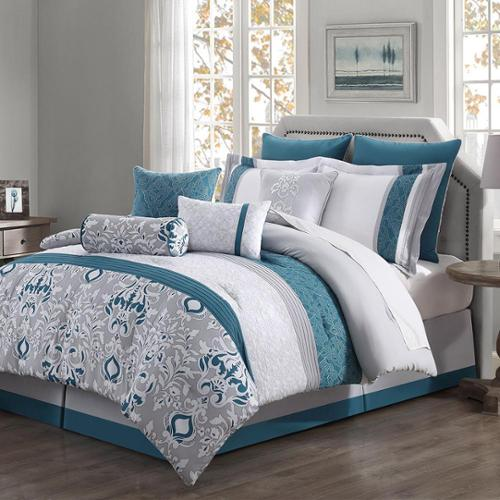 Chloe 10 Piece Reversible Comforter Set Teal Gray Ivory