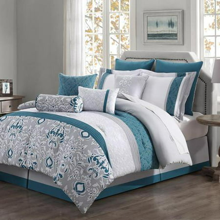 Chloe 10 piece reversible comforter set teal gray ivory for Teal and grey bathroom sets