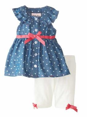 3831af68d5 Product Image Little Lass Infant Girls Denim Top & Leggings Outfit 2 Piece  Set 3-6 Months