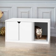Way Basics Eco-Friendly Enclosed Cat Litter Box, White