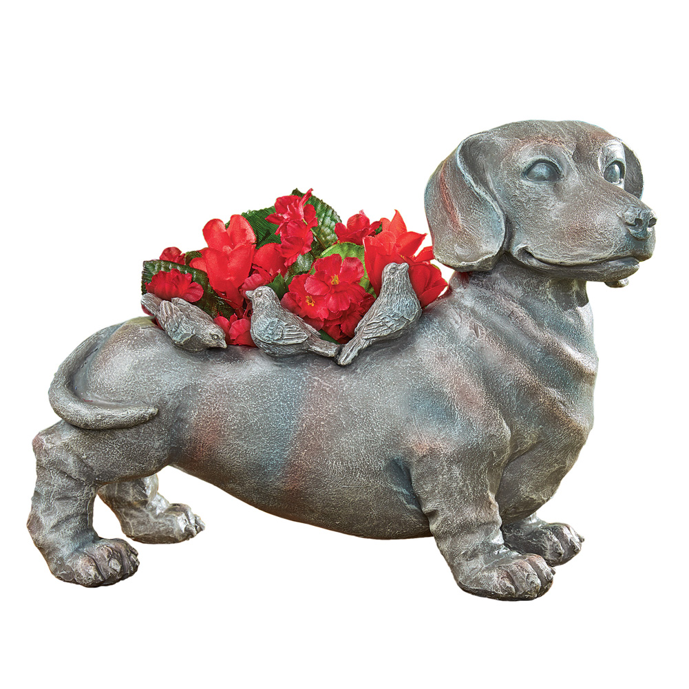 Dachshund and Birds Home and Garden Planter, Hand-Painted Home Décor for Indoor or Outdoor Display