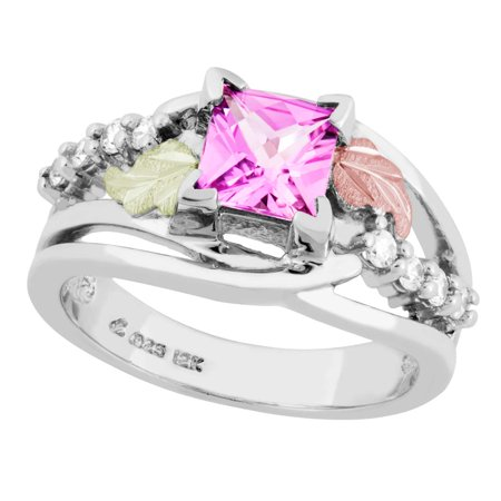 Black Hills Gold on Silver Pink Sapphire Ring with White CZ