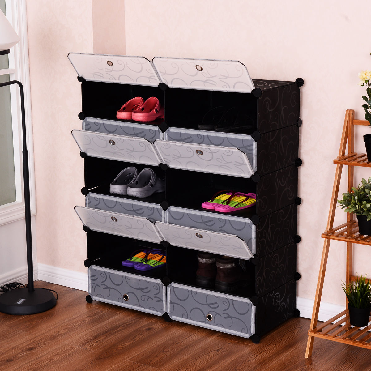 Costway 12 Cubic Portable Shoe Rack Shelf Cabinet Storage Closet Organizer Home Furni