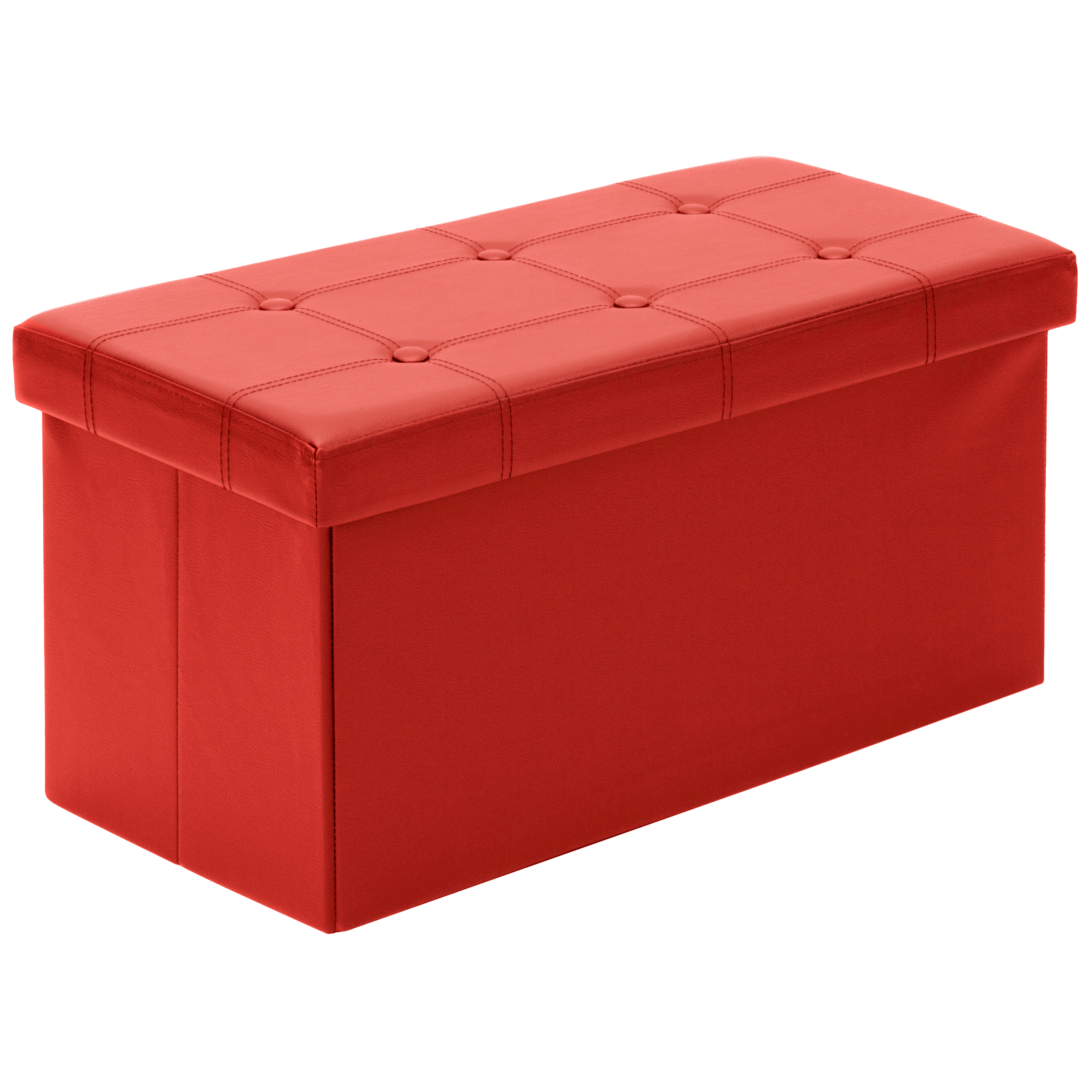 Best Choice Products Home Furniture Folding Storage Ottoman Bench- Red
