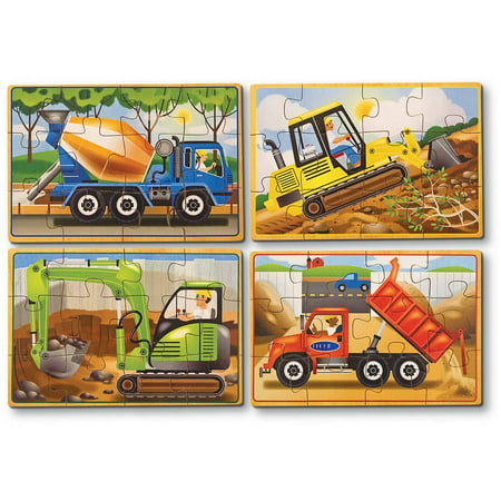 Melissa & Doug Construction Vehicles 4-in-1 Wooden Jigsaw Puzzles (48 pcs) - Wooden Star Puzzle