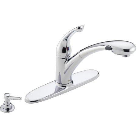 Delta Faucet Company 470-PROMO-DST Single Handle Pull Out Kitchen Faucet Delta Pull Out Faucet