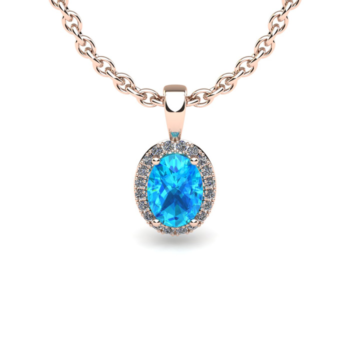 1 2 Carat Oval Shape Aquamarine and Halo Diamond Necklace In 10 Karat Rose Gold With 18 Inch Chain by SuperJeweler