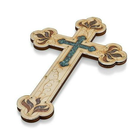 "Tierra Santa Ltd. Wall Wood Cross Vintage Jerusalem Gemstones Antique Style Decor 13"""