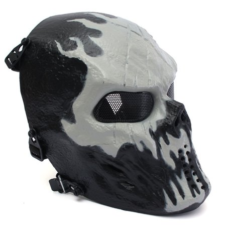 Elfeland Tactical Gear Airsoft Mask Overhead Skull Skeleton Safety Guard Face Protection Outdoor Paintball Hunting Cs War Game Combat Protect for Party Movie Props Sports