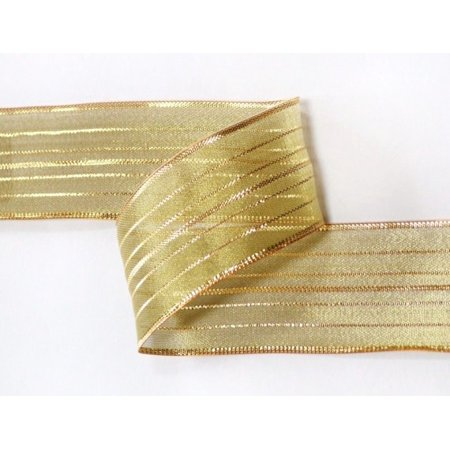 Ribbon Bazaar Wired Pinstriped Sheer Metallic 5/8 inch Gold 25 yards Ribbon