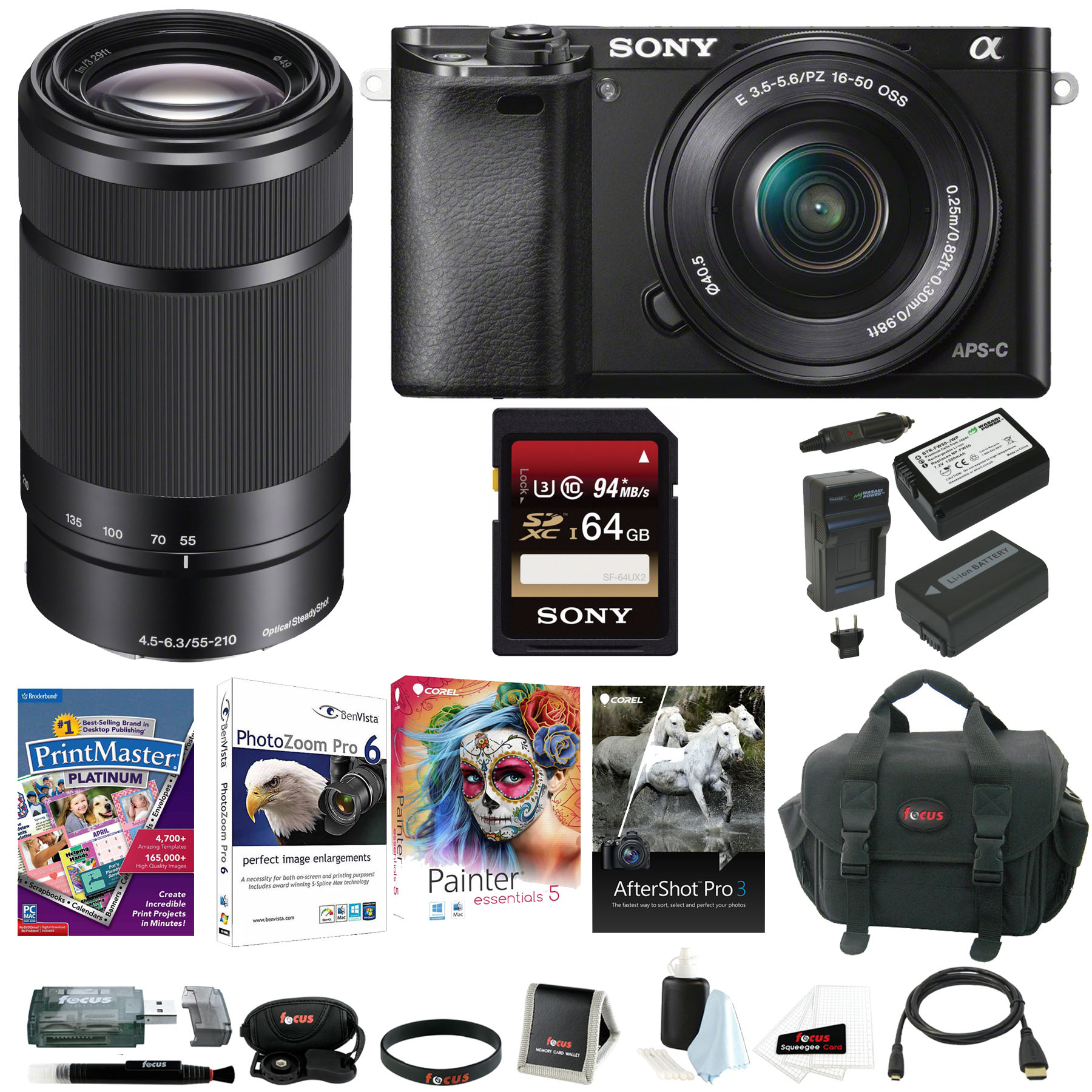Sony Alpha a6000 Mirrorless Camera w/ 16-50mm & E55-210mm Premium