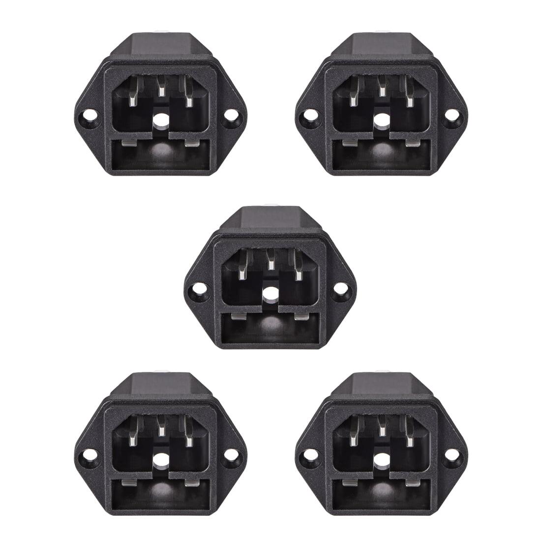C14 Panel Mount Plug Adapter AC 250V 10A 3Pins IEC Inlet Module Plug Socket 5pcs - image 3 of 3