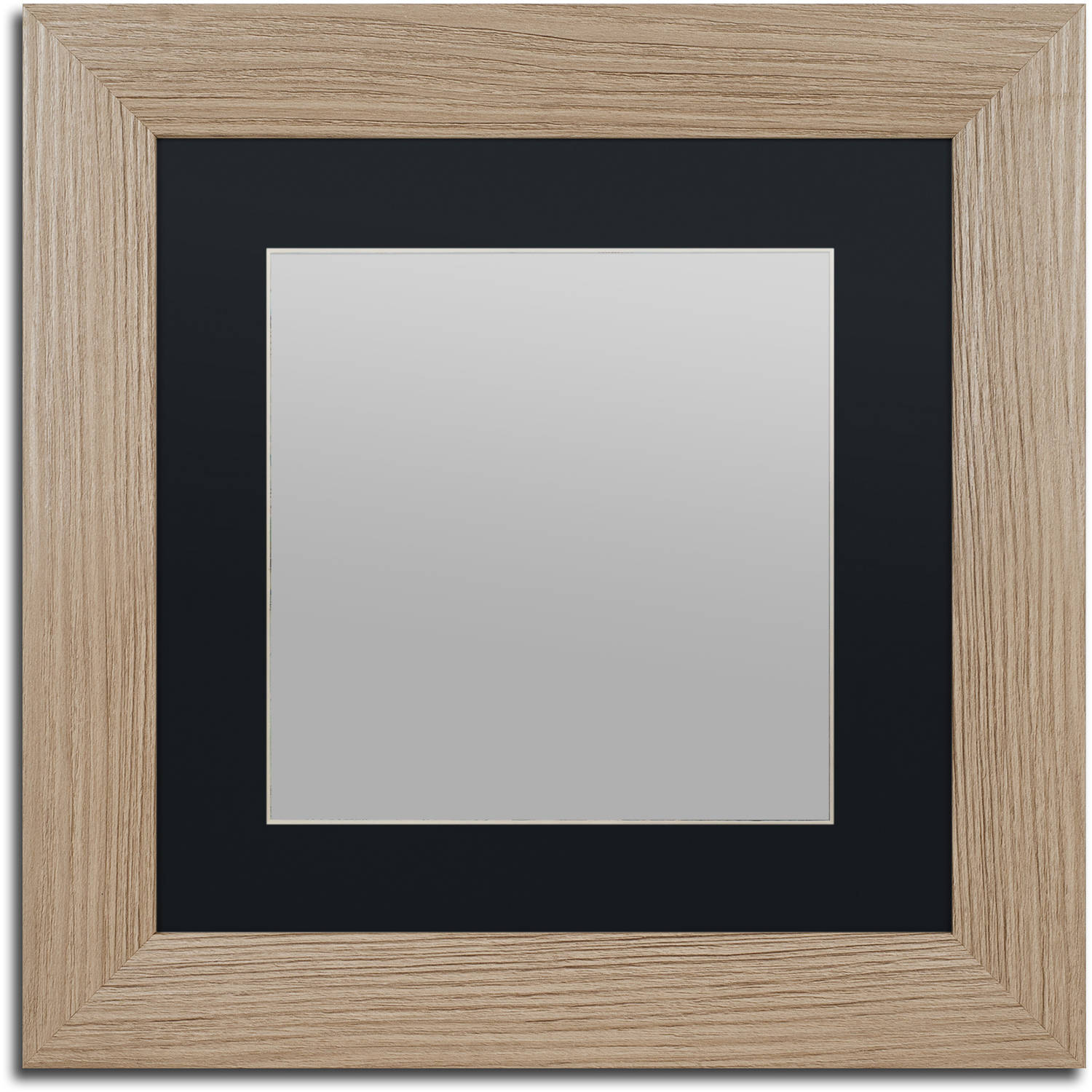 Trademark Fine Art Heavy-Duty 11x11 Birch Wood Picture Frame with 7x7 Black Mat