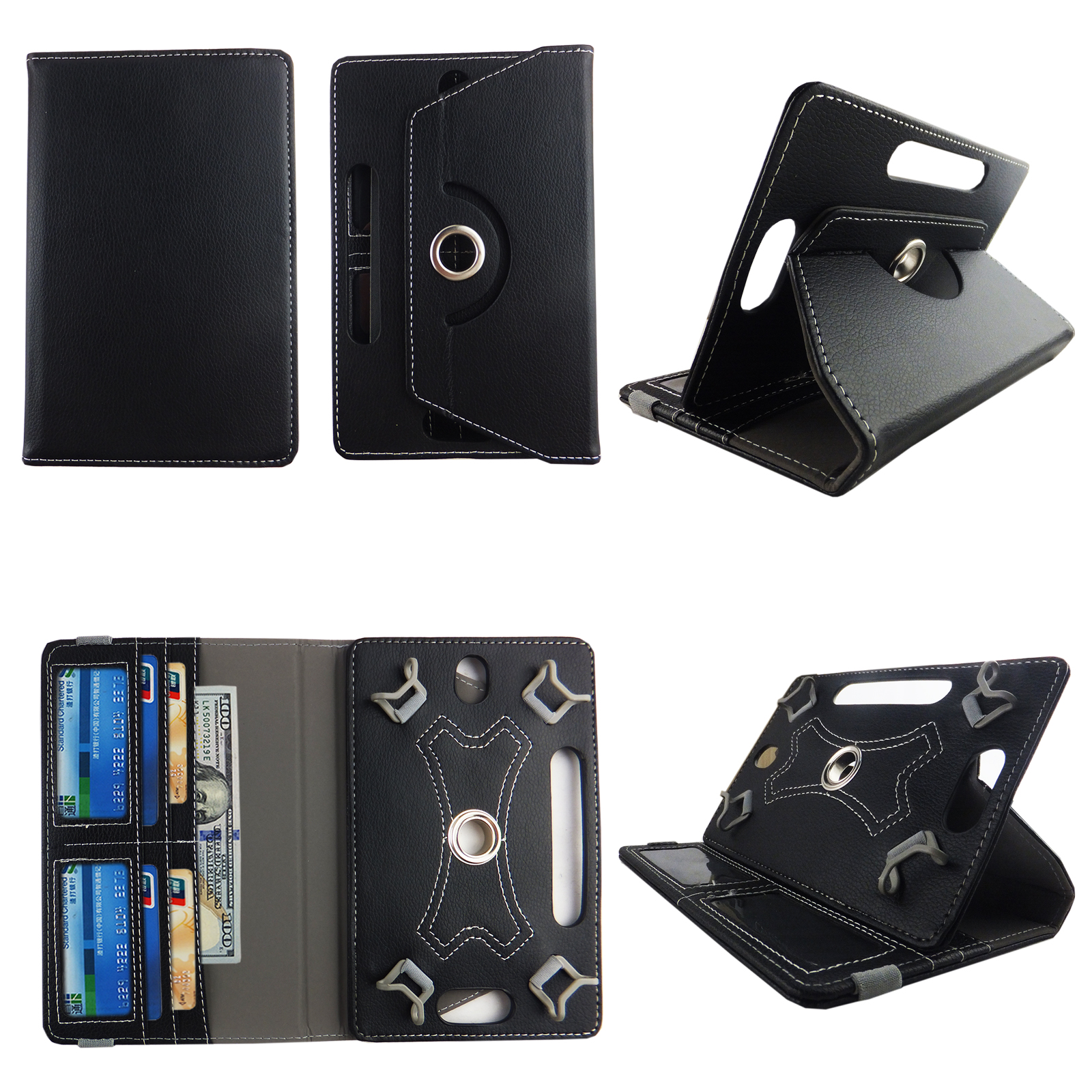"Black tablet case 10 inch for universal 10"" 10inch android tablet cases 360 rotating slim folio stand protector pu leather cover travel e-reader cash slots - Walmart.com"